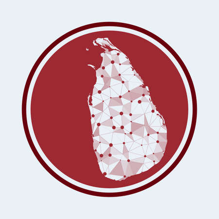 Sri Lanka icon. Trendy tech of the country. Geometric mesh round design. Technology, internet, network, telecommunication concept. Vector illustration.