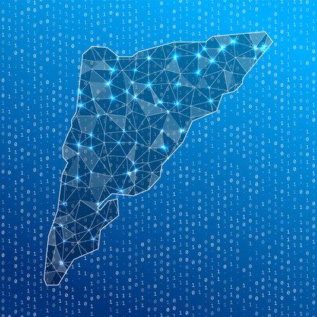 Network map of Salt Cay, Turks Islands. Island digital connections map. Technology, internet, network, telecommunication concept. Vector illustration.