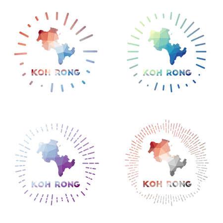 Koh Rong low poly sunburst set. design of island in geometric polygonal style. Vector illustration.