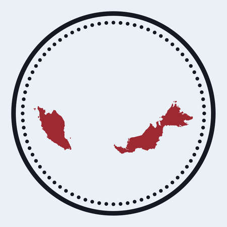 Malaysia round stamp. Round design with country map and title. Stylish minimal Malaysia badge with map. Vector illustration. Vectores