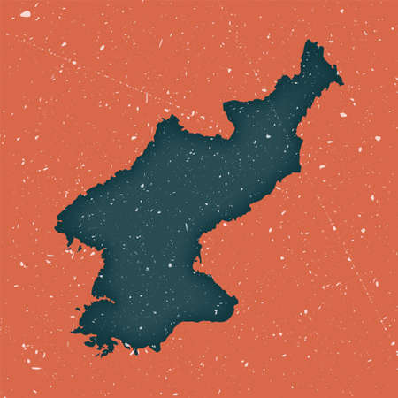 North Korea vintage map. Grunge map of the country with distressed texture. North Korea poster. Vector illustration.