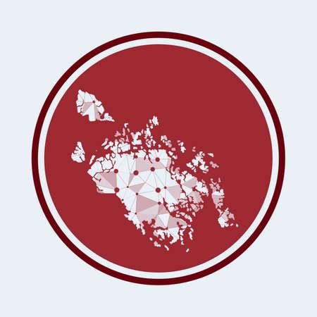 Cat Ba Island icon. Trendy tech design of the island. Geometric mesh round design. Technology, internet, network, telecommunication concept. Vector illustration.