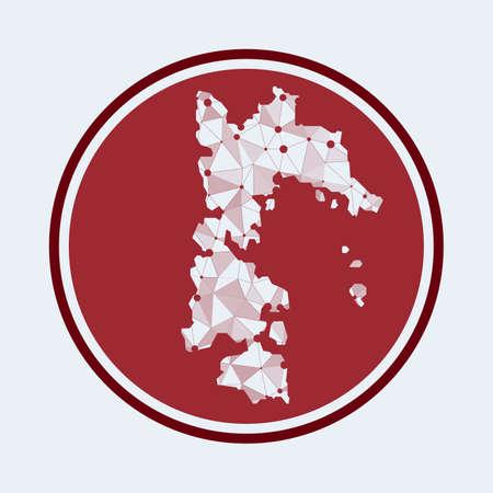 Patmos icon. Trendy tech design of the island. Geometric mesh round design. Technology, internet, network, telecommunication concept. Vector illustration.