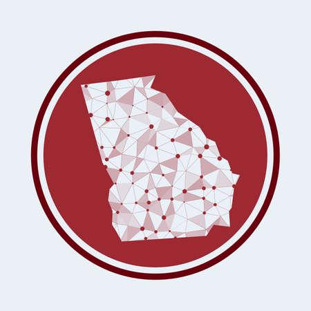 Georgia icon. Trendy tech design of the us state. Geometric mesh round design. Technology, internet, network, telecommunication concept. Vector illustration.