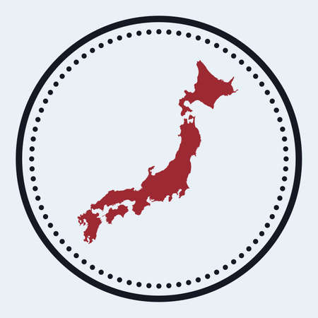 Japan round stamp. Round design with country map and title. Stylish minimal Japan badge with map. Vector illustration.