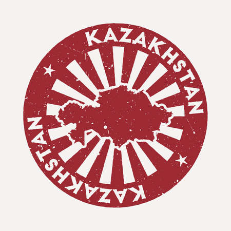 Kazakhstan stamp. Travel red rubber stamp with the map of country, vector illustration. Can be used as insignia, logotype, label, sticker or badge of the Kazakhstan. Vectores