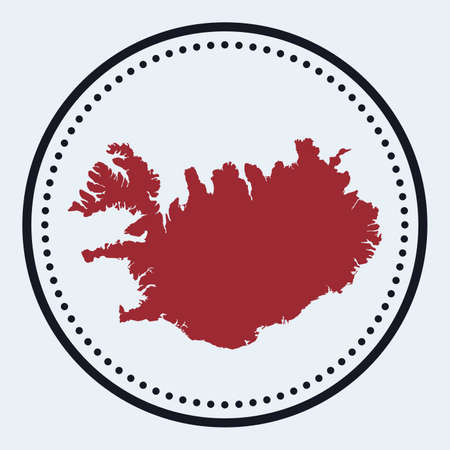 Iceland round stamp. Round design with country map and title. Stylish minimal Iceland badge with map. Vector illustration.