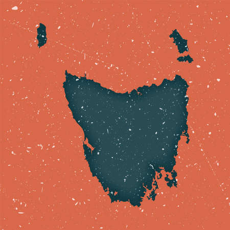Tasmania vintage map. Grunge map of the island with distressed texture. Tasmania poster. Vector illustration.