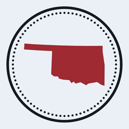 Oklahoma round stamp. Round design with us state map and title. Stylish minimal Oklahoma badge with map. Vector illustration. Foto de archivo - 168650702
