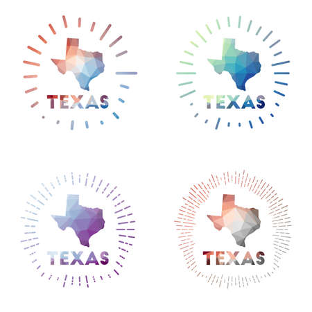 Texas low poly sunburst set. design of us state in geometric polygonal style. Vector illustration. Vectores