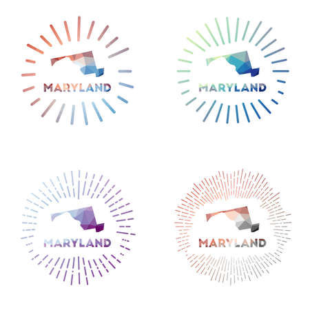 Maryland low poly sunburst set. design of us state in geometric polygonal style. Vector illustration. Vectores