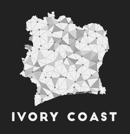 Ivory Coast - communication network map of country. Ivory Coast trendy geometric design on dark background. Technology, internet, network, telecommunication concept. Vector illustration. Vectores