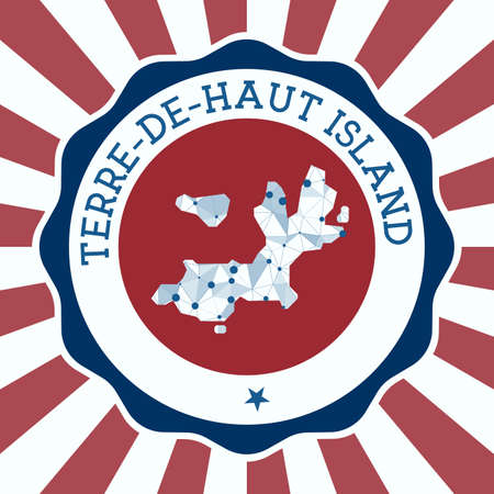 Terre-de-Haut Island Badge. Round design of island with triangular mesh map and radial rays.