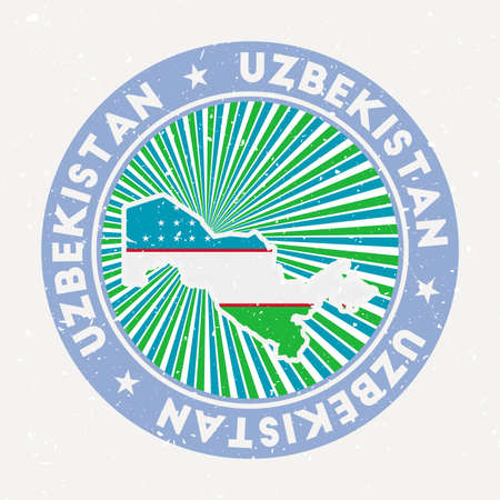 Uzbekistan round stamp. design of country with flag. Vintage badge with circular text and stars, vector illustration. Vectores