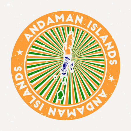 Andaman Islands round stamp. design of island with flag. Vintage badge with circular text and stars, vector illustration.