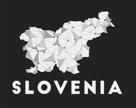 Slovenia - communication network map of country. Slovenia trendy geometric design on dark background. Technology, internet, network, telecommunication concept. Vector illustration. Vectores