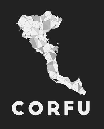 Corfu - communication network map of island. Corfu trendy geometric design on dark background. Technology, internet, network, telecommunication concept. Vector illustration.