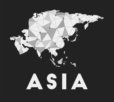 Asia - communication network map of continent. Asia trendy geometric design on dark background. Technology, internet, network, telecommunication concept. Vector illustration.