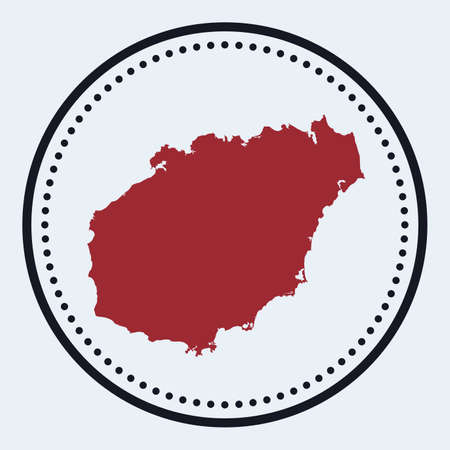 Hainan round stamp. Round design with island map and title. Stylish minimal Hainan badge with map. Vector illustration.