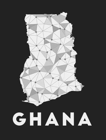Ghana - communication network map of country. Ghana trendy geometric design on dark background. Technology, internet, network, telecommunication concept. Vector illustration.