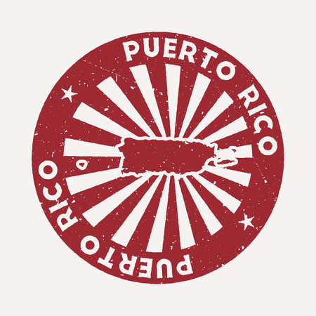 Puerto Rico stamp. Travel red rubber stamp with the map of country, vector illustration. Can be used as insignia, logotype, label, sticker or badge of the Puerto Rico. Vectores