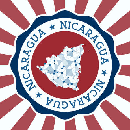 Nicaragua Badge. Round design of country with triangular mesh map and radial rays.