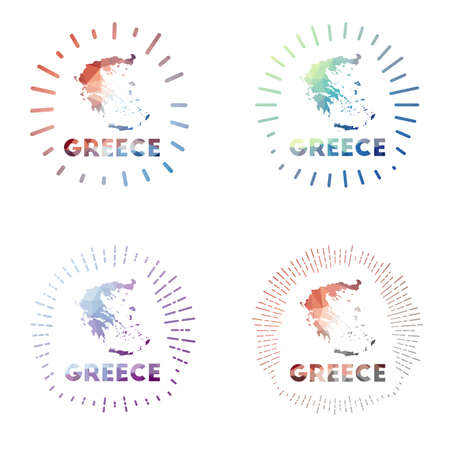 Greece low poly sunburst set. design of country in geometric polygonal style. Vector illustration. Vectores