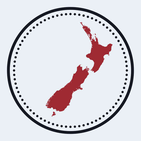 New Zealand round stamp. Round design with country map and title. Stylish minimal New Zealand badge with map. Vector illustration.
