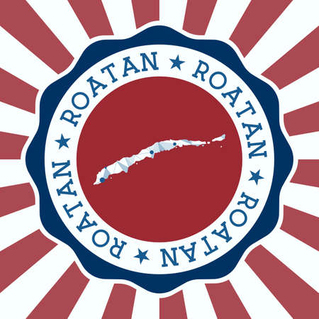 Roatan Badge. Round design of island with triangular mesh map and radial rays.