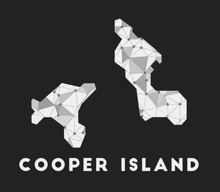 Cooper Island - communication network map of island. Cooper Island trendy geometric design on dark background. Technology, internet, network, telecommunication concept. Vector illustration. Vectores