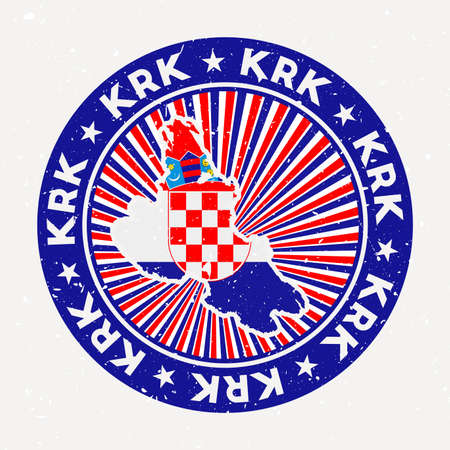 Krk round stamp. Design of island with flag. Vintage badge with circular text and stars, vector illustration. Vektoros illusztráció