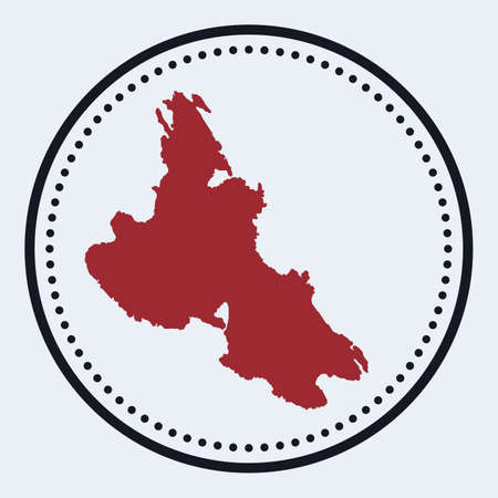 Krk round stamp. Round design with island map and title. Stylish minimal Krk badge with map. Vector illustration.