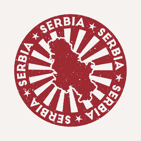 Serbia stamp. Travel red rubber stamp with the map of country, vector illustration. Can be used as insignia, logotype, label, sticker or badge of the Serbia.