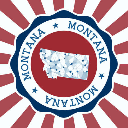 Montana Badge. Round Design of us state with triangular mesh map and radial rays.