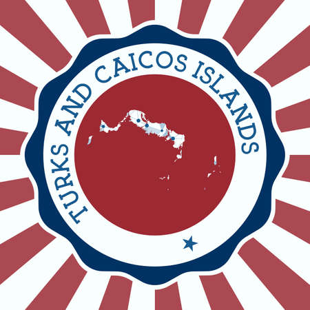 Turks and Caicos Islands Badge. Round Design of island with triangular mesh map and radial rays.
