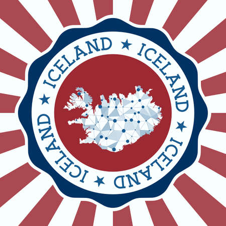 Iceland Badge. Round Design of country with triangular mesh map and radial rays.