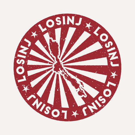 Losinj stamp. Travel red rubber stamp with the map of island, vector illustration. Can be used as insignia, logotype, label, sticker or badge of the Losinj. Vectores