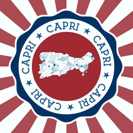 Capri Badge. Round Design of island with triangular mesh map and radial rays.
