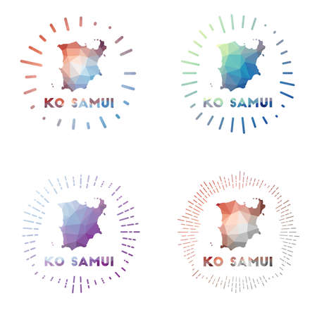 Ko Samui low poly sunburst set. Design of island in geometric polygonal style. Vector illustration. Vectores