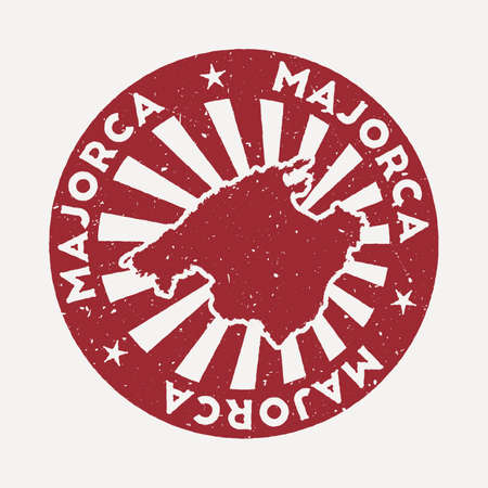 Majorca stamp. Travel red rubber stamp with the map of island, vector illustration. Can be used as insignia, logotype, label, sticker or badge of the Majorca. Vectores