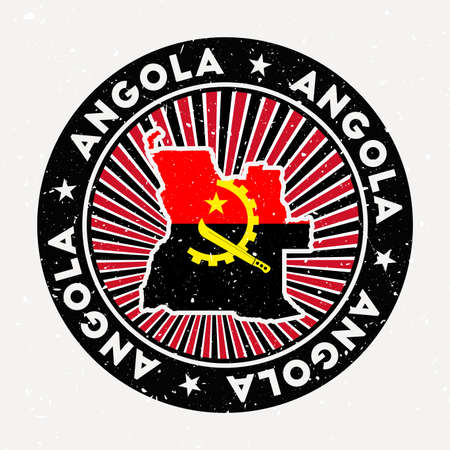 Angola round stamp. Design of country with flag. Vintage badge with circular text and stars, vector illustration.