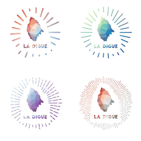 La Digue low poly sunburst set. Design of island in geometric polygonal style. Vector illustration.