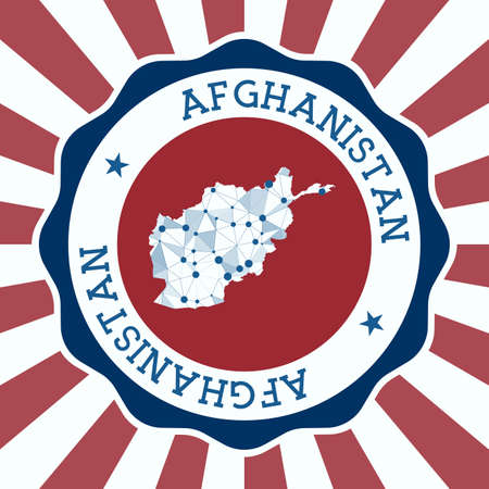 Afghanistan Badge. Round Design of country with triangular mesh map and radial rays. Vectores
