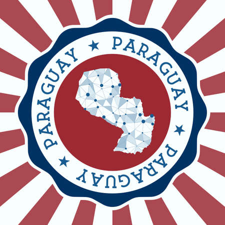 Paraguay Badge. Round Design of country with triangular mesh map and radial rays. EPS10 Vector.