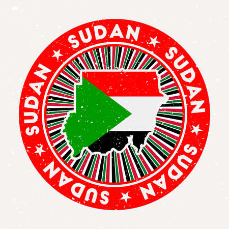 Sudan round stamp. Design of country with flag. Vintage badge with circular text and stars, vector illustration.