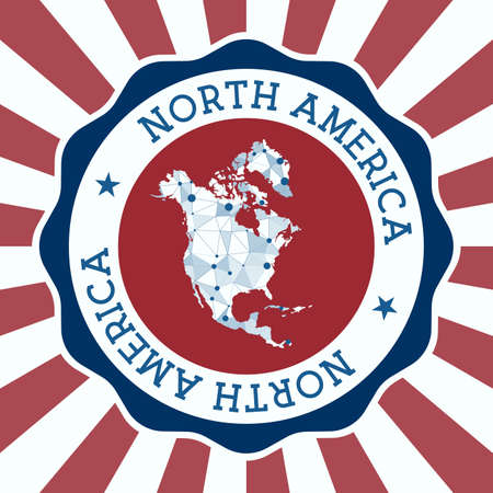 North America Badge. Round Design of continent with triangular mesh map and radial rays. Vectores