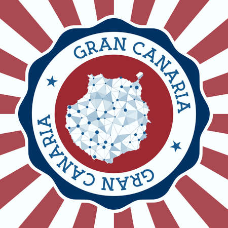 Gran Canaria Badge. Round Design of island with triangular mesh map and radial rays.