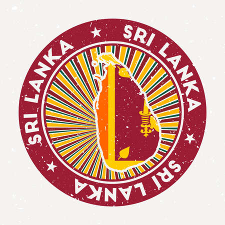 Sri Lanka round stamp. Design of country with flag. Vintage badge with circular text and stars, vector illustration. Vectores