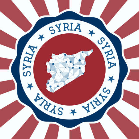 Syria Badge. Round design of country with triangular mesh map and radial rays. Vectores