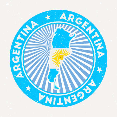 Argentina round stamp. Design of country with flag. Vintage badge with circular text and stars, vector illustration.